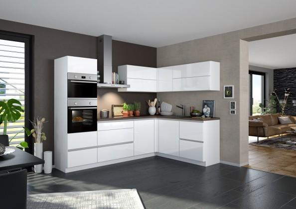 Rohové kuchynské linky Rohová kuchyňa Eugenie ľavý roh 275x185 (biela,vysoký lesk, lak)