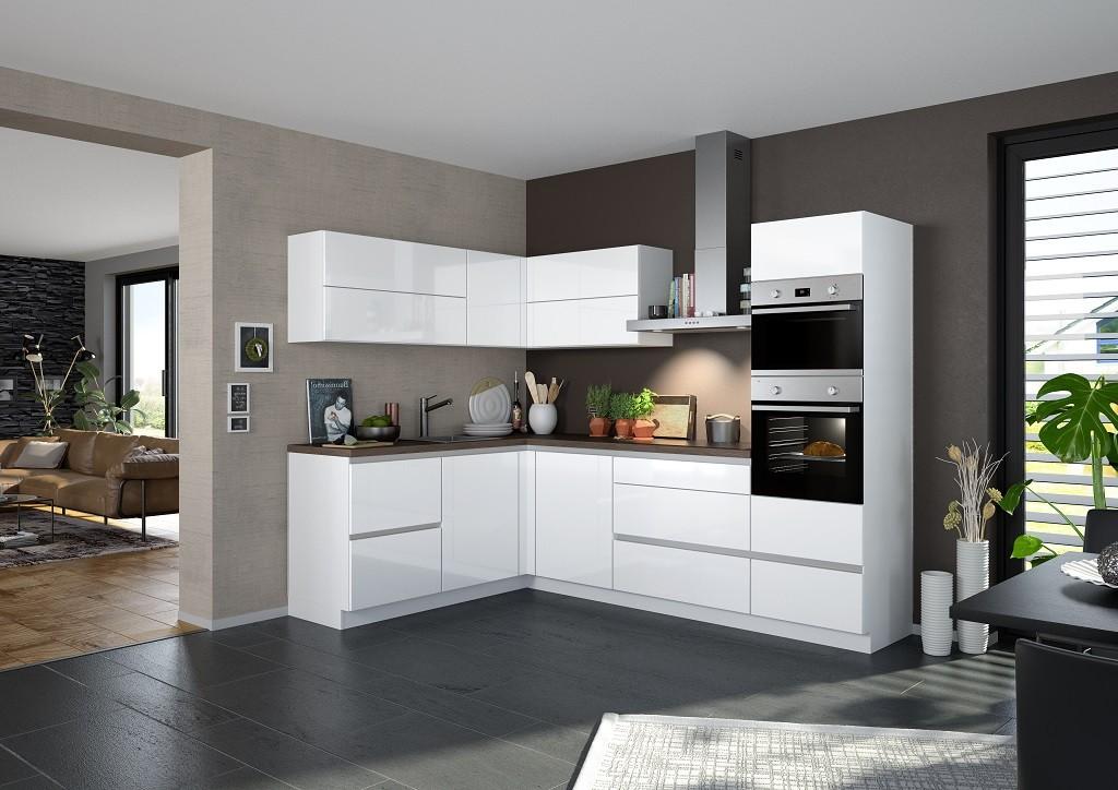 Rohové kuchynské linky Rohová kuchyňa Eugenie pravý roh 275x185 (biela,vysoký lesk,lak)