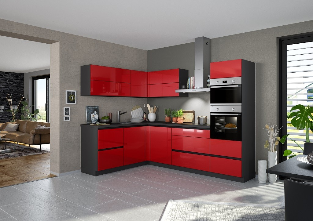Rohové kuchynské linky Rohová kuchyňa Eugenie pravý roh 275x185 červená,vysoký lesk,lak