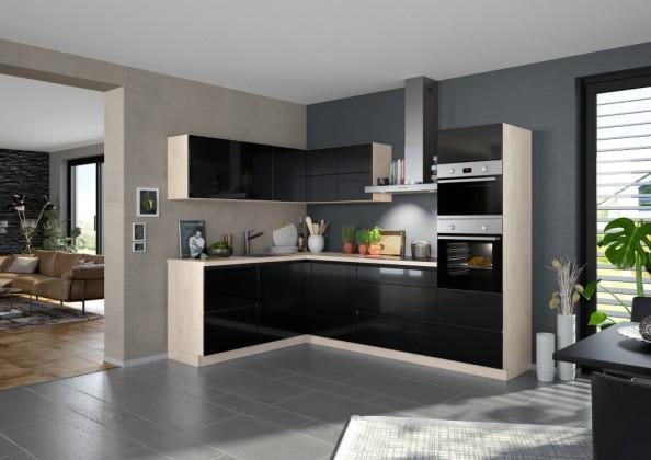 Rohové kuchynské linky Rohová kuchyňa Eugenie pravý roh 275x185(čierna,vysoký lesk,lak)