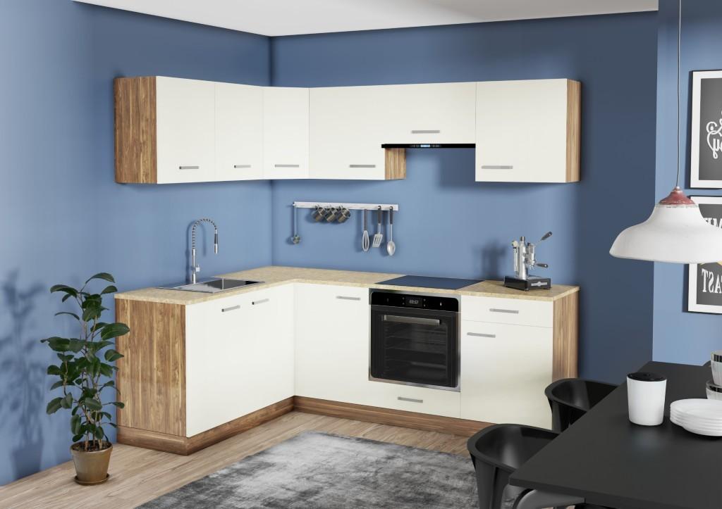 Rohové kuchynské linky Rohová kuchyňa Evelin ľavý roh 220x160 cm (magnólia, orech)