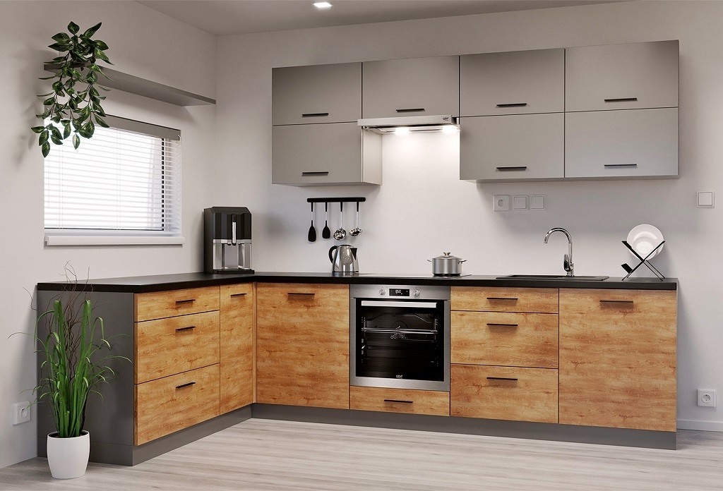 Rohové kuchynské linky Rohová kuchyňa Felicita ľavý roh 300x180 cm (sivá, dub lefkas)