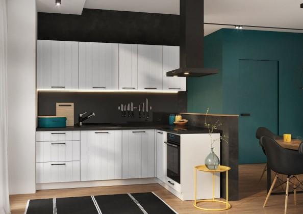 Rohové kuchynské linky Rohová kuchyňa Grace pravý roh 230x160 cm (biela mat)