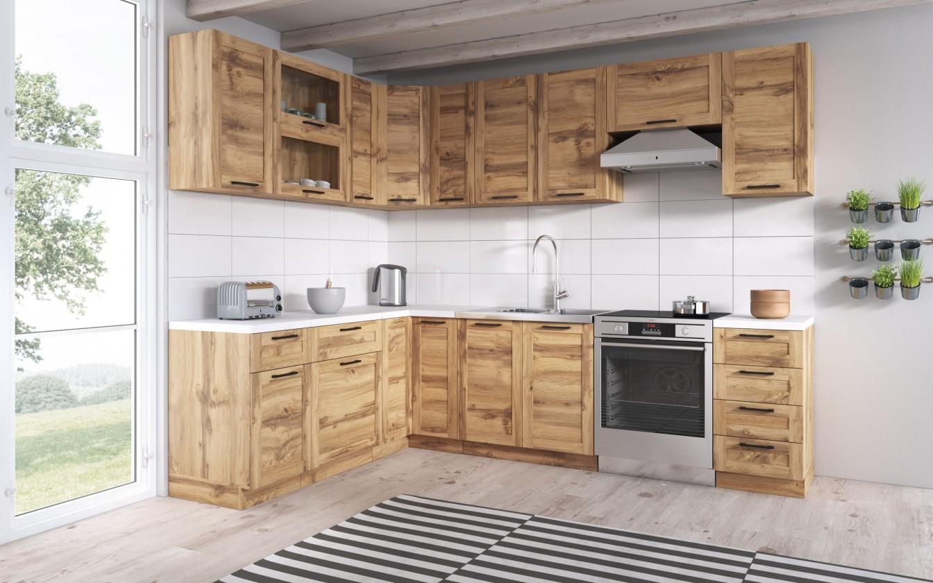 Rohové kuchynské linky Rohová kuchyňa Jamajka ľavý roh 270x190 cm (dub wotan)