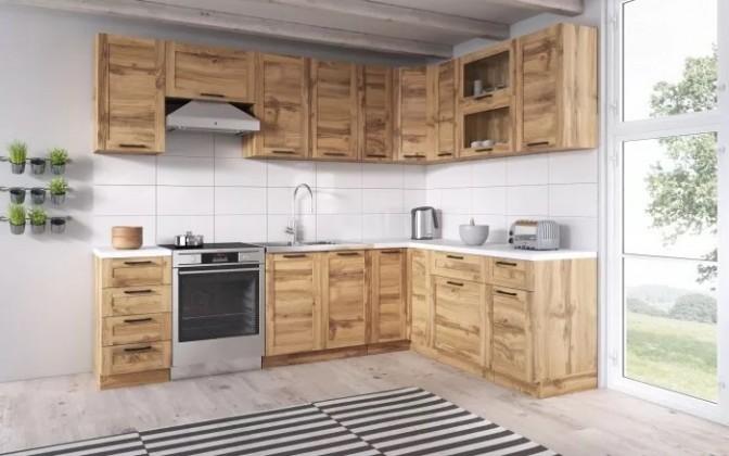 Rohové kuchynské linky Rohová kuchyňa Jamajka pravý roh 270x190 cm (dub wotan)