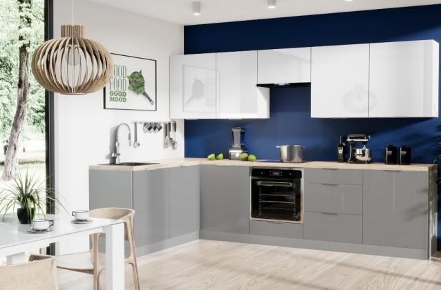 Rohové kuchynské linky Rohová kuchyňa Jodie ľavý roh 290x180 cm(biela,sivá,vysoký lesk)