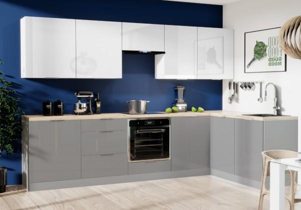 Rohové kuchynské linky Rohová kuchyňa Jodie pravý roh 290x180cm(biela,sivá,vysoký lesk)