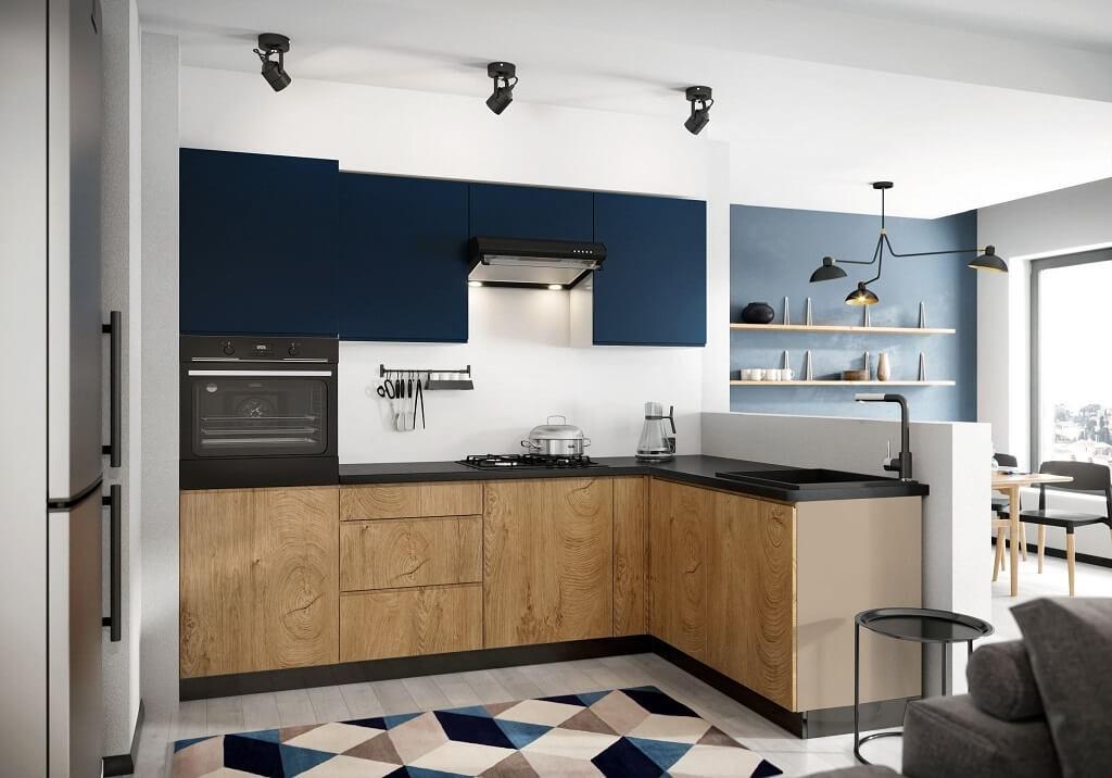 Rohové kuchynské linky Rohová kuchyňa Leya pravý roh 255x170 cm (modrá mat/drevo)