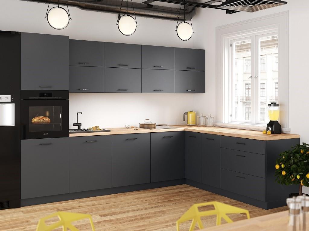 Rohové kuchynské linky Rohová kuchyňa Lisa pravý roh 300x220 cm (sivá)