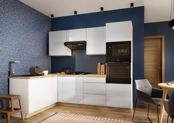 Rohové kuchynské linky Rohová kuchyňa Lisse ľavý roh 255x170 cm (biela lesklá)