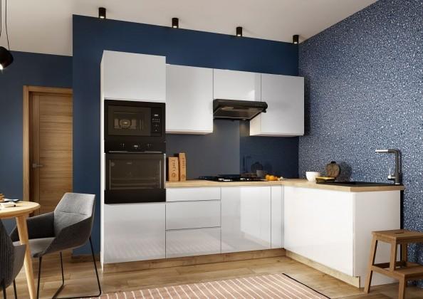 Rohové kuchynské linky Rohová kuchyňa Lisse pravý roh 255x170 cm (biela lesklá)