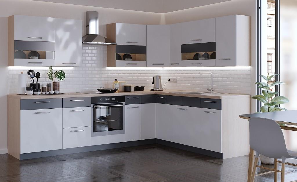 Rohové kuchynské linky Rohová kuchyňa Marina ľavý roh 285x210 cm (biela lesklá/grafit)
