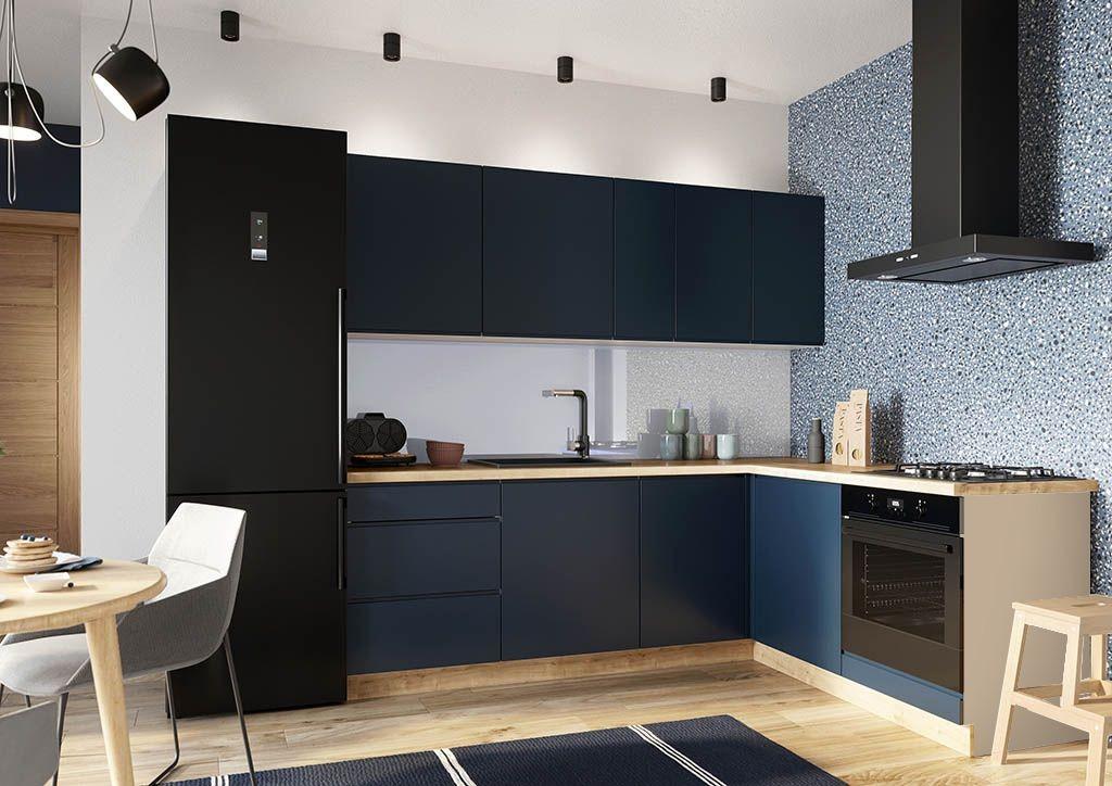 Rohové kuchynské linky Rohová kuchyňa Minea pravý roh 230x180 (modrá mat)