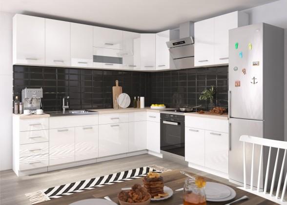 Rohové kuchynské linky Rohová kuchyňa Rio ľavý roh 270x170 cm (biela lesklá/dub sonoma)