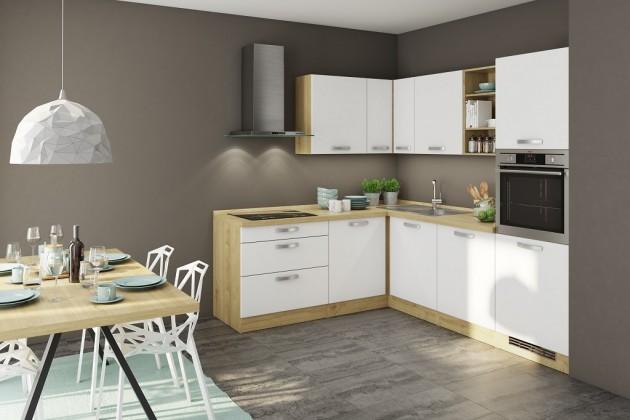 Rohové kuchynské linky Rohová kuchyňa Sabrina ľavý roh 240x200 cm (biela/dub arlington)