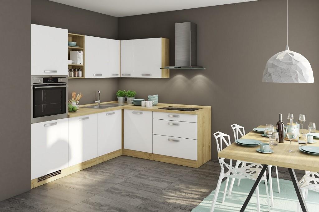 Rohové kuchynské linky Rohová kuchyňa Sabrina pravý roh 240x200 cm (biela/dub arlington)