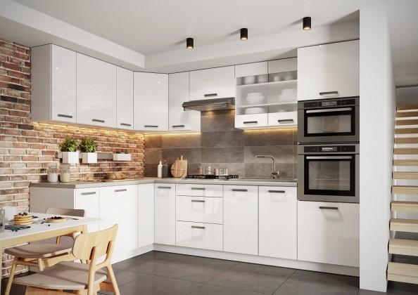 Rohové kuchynské linky Rohová kuchyňa Vicky ľavý roh 290x180 cm (biela lesklá)