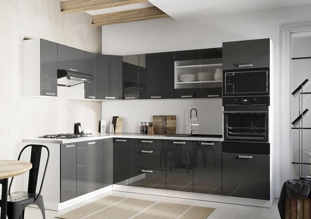 Rohové kuchynské linky Rohová kuchyňa Vicky ľavý roh 290x180 cm (sivá lesklá)