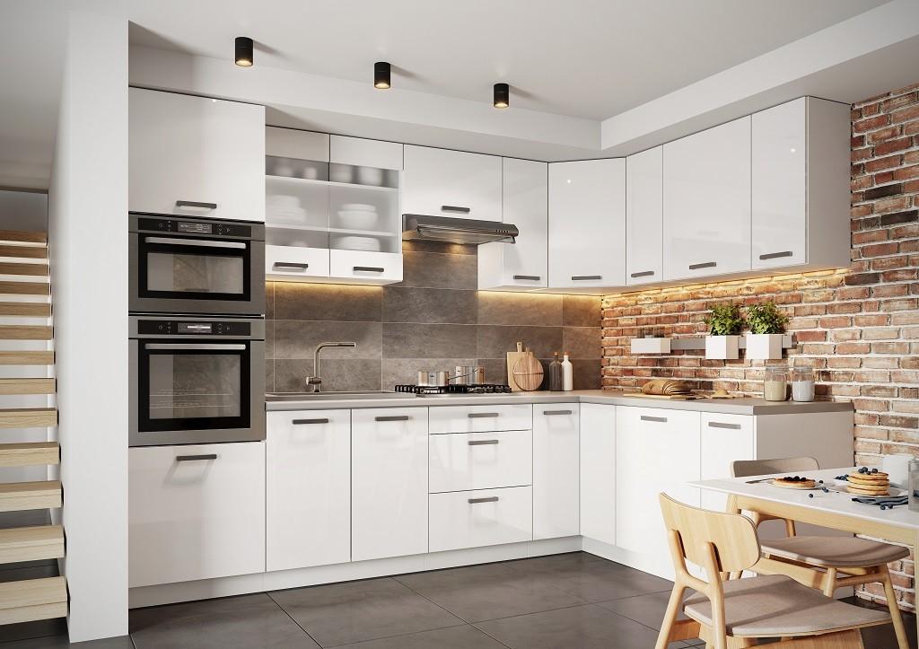 Rohové kuchynské linky Rohová kuchyňa Vicky pravý roh 290x180 cm (biela lesklá)