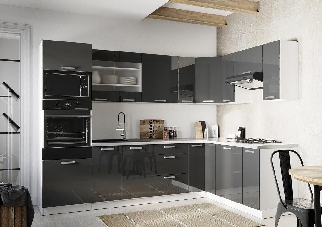Rohové kuchynské linky Rohová kuchyňa Vicky pravý roh 290x180 cm (sivá lesklá)