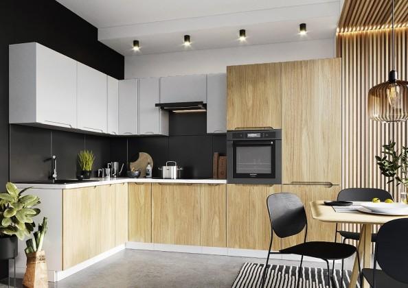 Rohové kuchynské linky Rohová kuchyňa Zoya ľavý roh 300x180 cm (sivá/drevo)