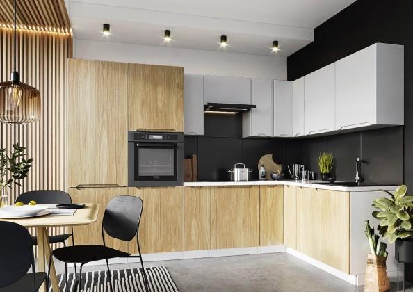 Rohové kuchynské linky Rohová kuchyňa Zoya pravý roh 300x180 cm (sivá/drevo)