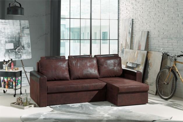 Rohové sedačky rozkladacie Dimi-univerzálny roh (gobi 04-hl.látka/bycast brown-dopln.látka)
