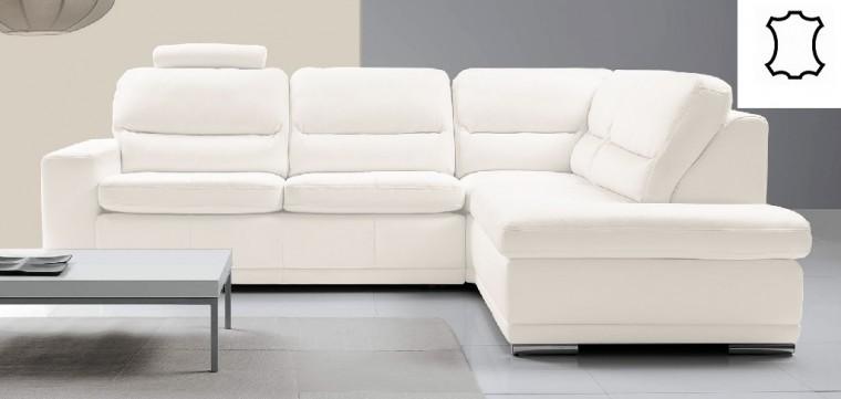 Rohové sedačky rozkladacie Kožená sedačka rozkladacia Bono pravý roh biela