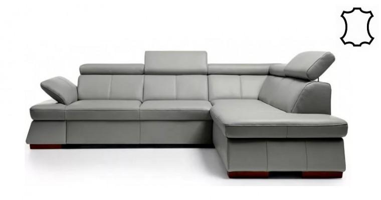 Rohové sedačky rozkladacie Kožená sedačka rozkladacia Malpensa pravý roh ÚP sivohnedá