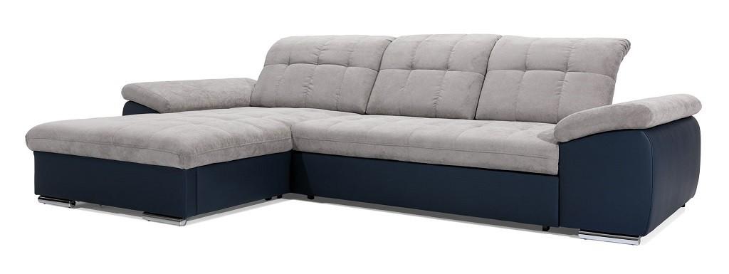 Rohové sedačky rozkladacie Rohová sedačka rozkladacia Ateca ľavý roh ÚP sivá, modrá
