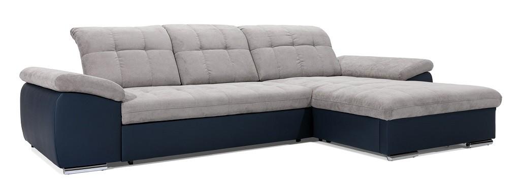 Rohové sedačky rozkladacie Rohová sedačka rozkladacia Ateca pravý roh ÚP sivá, modrá