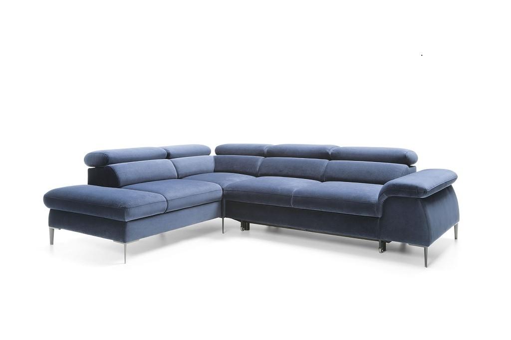 Rohové sedačky rozkladacie Rohová sedačka rozkladacia Berg ľavý roh ÚP modrá