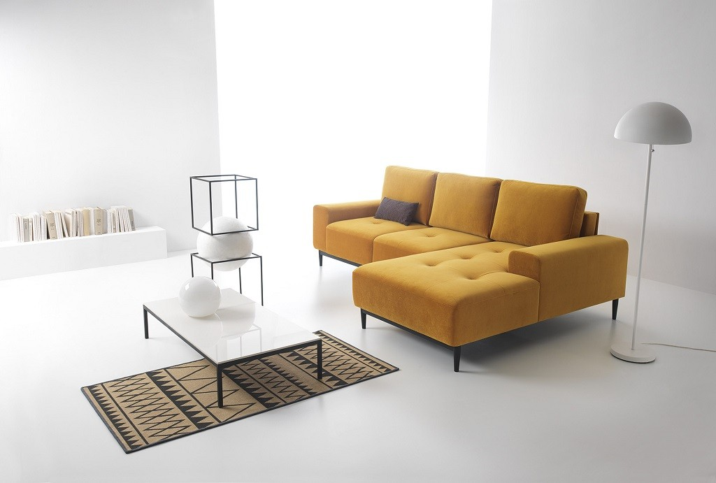 Rohové sedačky rozkladacie Rohová sedačka rozkladacia Forsa pravý roh ÚP žltá