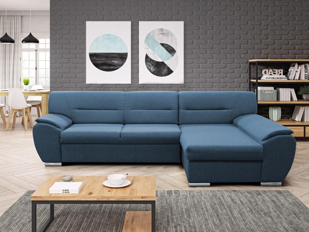 Rohové sedačky rozkladacie Rohová sedačka rozkladacia Fortino pravý roh ÚP modrá