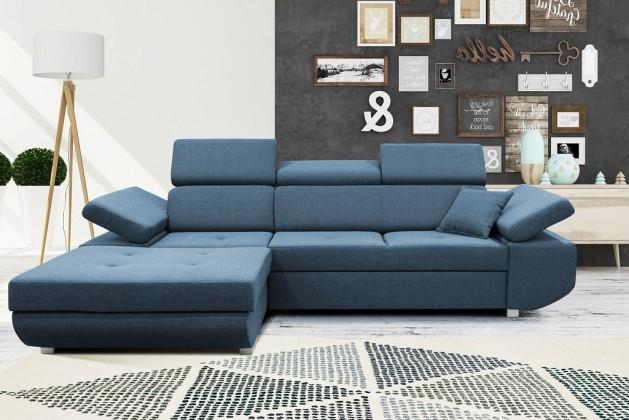 Rohové sedačky rozkladacie Rohová sedačka rozkladacia Gans ľavý roh ÚP modrá