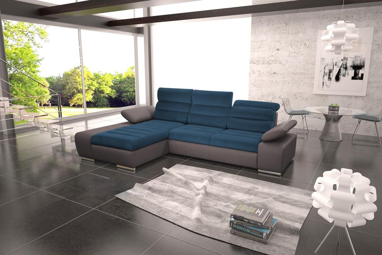 Rohové sedačky rozkladacie Rohová sedačka rozkladacia Korfu ľavý roh ÚP sivá, modrá