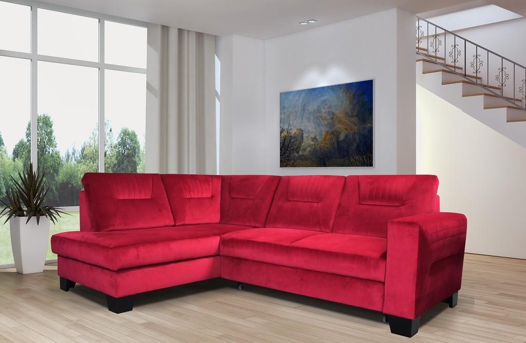 Rohové sedačky rozkladacie Rohová sedačka rozkladacia Massa ľavý roh ÚP červená