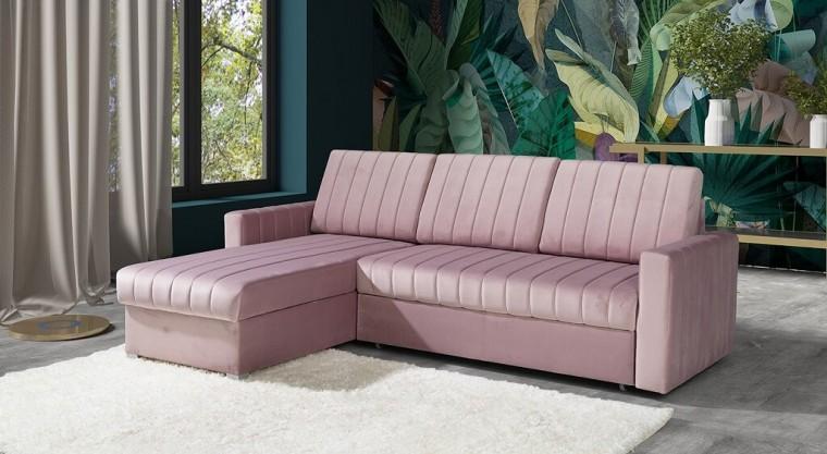 Rohové sedačky rozkladacie Rohová sedačka rozkladacia Morgat ľavý roh ÚP ružová
