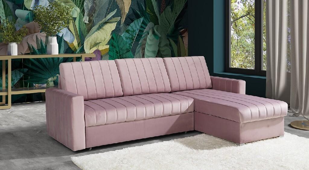 Rohové sedačky rozkladacie Rohová sedačka rozkladacia Morgat pravý roh ÚP ružová