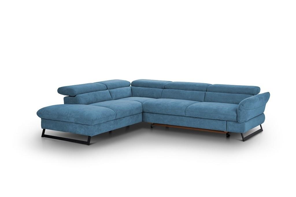 Rohové sedačky rozkladacie Rohová sedačka rozkladacia Naples ľavý roh modrá