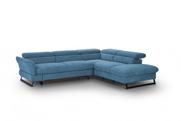 Rohové sedačky rozkladacie Rohová sedačka rozkladacia Naples pravý roh modrá