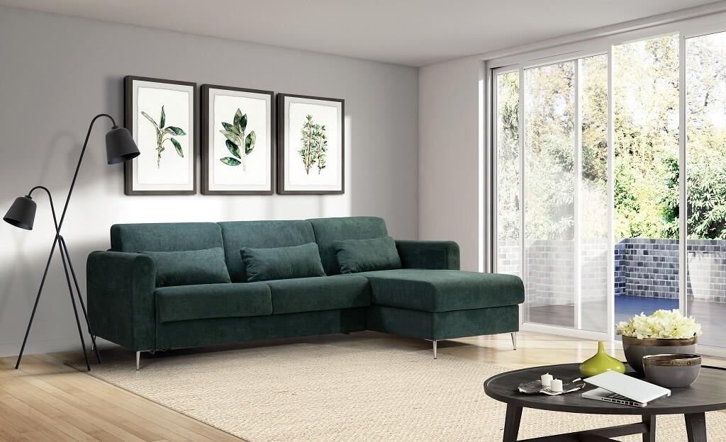 Rohové sedačky rozkladacie Rohová sedačka rozkladacia Sia pravý roh ÚP zelená