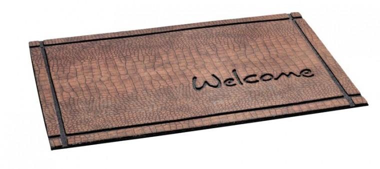 Rohožka - Ecomat Welcome crocodile brown, 46x76 cm (nápis)