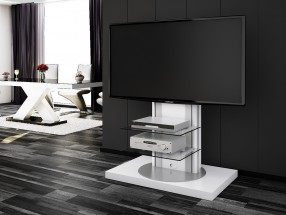 Roma - TV stolík s držiakom (biela vysoký lesk)