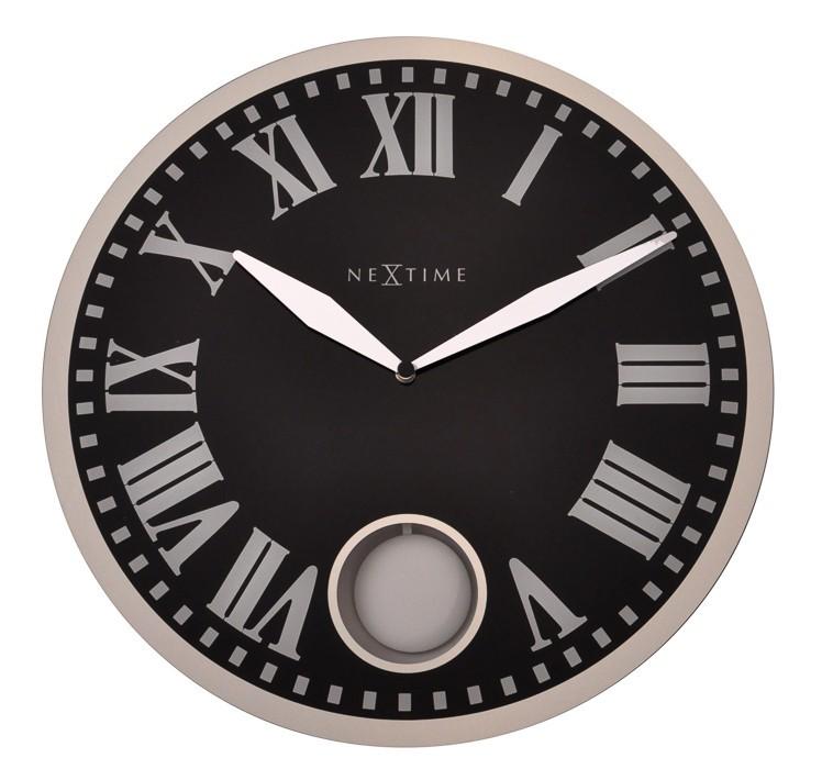 Romana - hodiny, nástenné kyvadlové, guľaté (sklo, čierne)