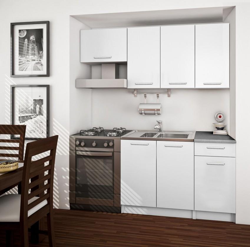 Rovná Basic - kuchynský blok A, 180 cm (biela)