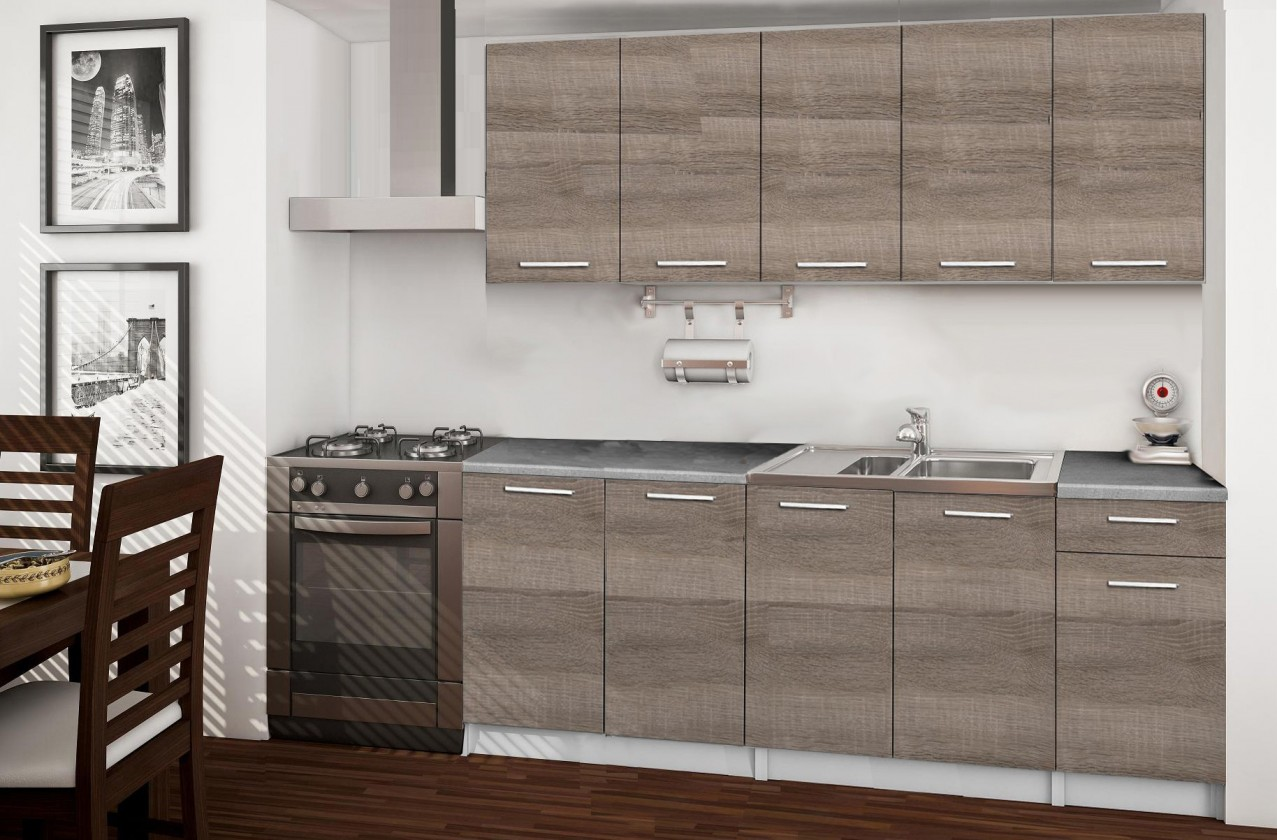 Rovná Basic - kuchynský blok A, 200 cm (dub truffle)