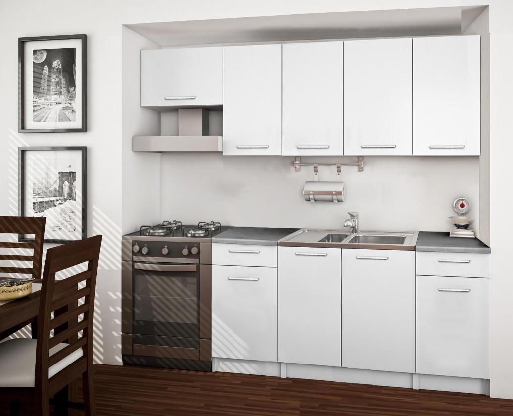 Rovná Basic - kuchynský blok A, 220 cm (biela)