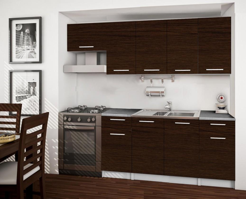 Rovná Basic - kuchynský blok A, 220 cm (wenge)