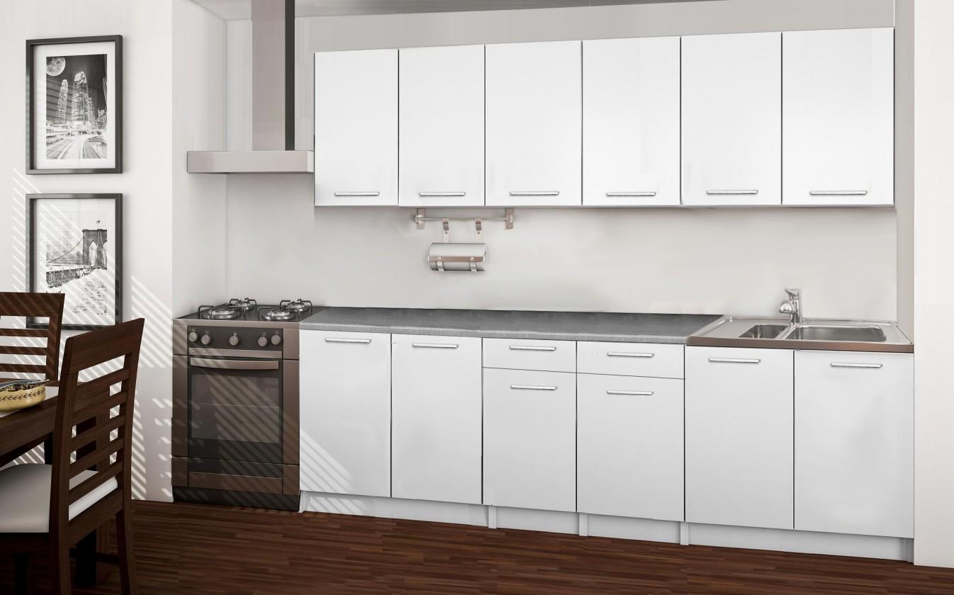Rovná Basic - kuchynský blok A, 240 cm (biela)